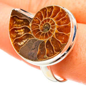 Large Ammonite Fossil 925 Sterling Silver Ring Size 13.5 Ana Co Jewelry R75570F