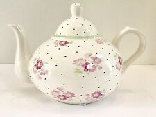 1-800 Flowers.com Pink with Black Dots & Pink Flowers Teapot