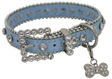 Showman Couture XLARGE BLUE Leather Dog Collar w/ Rhinestones & Bone Charm! NEW