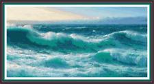 "'CORNISH ROLLERS' Cross stitch pattern 19""x10"" Seascape/Detailed/Cornwall NEW"