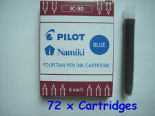 72 PILOT Namiki Fountain Pen Ink Cartridge Refills, IC-50, BLUE