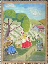 1930s Black Folk Art Southern cotton pickers painting