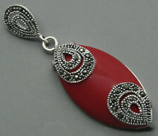 925 STERLING SILVER RED CORAL GMES MARCASITE NECKLACE PENDANT