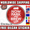 PARK & BREW UP sticker vintage retro vw camper split 85mm