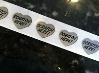 "50 Silver HEART 1"" SCRATCH HERE SCRATCH OFF Stickers Labels Games Tickets Favors"