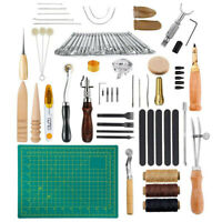 50 STK Leder Handwerk Werkzeug Set DIY Schneiden Nähen Schnitzen Stanz Arbeit