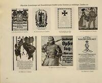 1916i Guerra Mundial WW1 Estampado De Alemán Revista Neutral Carteles Eventos