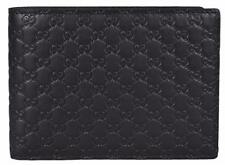 NEW Gucci Men's 278596 Black Micro GG Guccissima Large Bifold Wallet