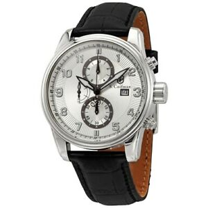 S. Coifman SC0305 43mm Heritage Quartz Chronograph Leather Strap Mens Watch