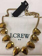 NWT J.Crew Metallic Gold Teardrop Gemstone Statement Necklace & Dust bag