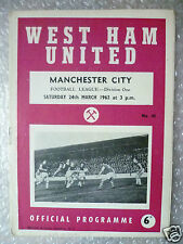 1962 WEST HAM UNITED v MANCHESTER CITY (B Moore, G Hurst played) 24 March