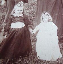 Antique Cabinet Card Photo Family Sheep Creepy Ghost Spirit Doll Oddity Linhart