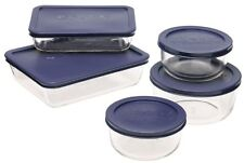 Pyrex Storage 10-Piece Set, Clear with Blue Lids - Glass Bowls Kitchen Container