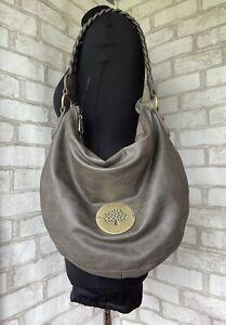 Mulberry Daria Hobo Shoulder Bag Large Grey/Chocolate