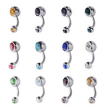 12PCS Steel Curved Barbell Double Cz Gem Navel Belly Button Ring Body Piercing