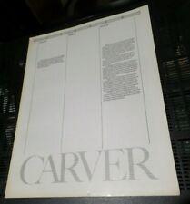 Vintage Carver Audio Sales Brochure Original Very Good Condition