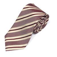 CANALI Deboniare Brown Cream Striped Micro Checkerboard Men's Silk Neck Tie