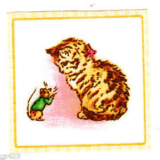 "2.5"" Beatrix potter cat mouse square nursery wall safe fabric decal cut"