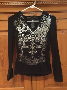 Pepe Jeans Embellished Sequin Black Hoodie Girls Junior Size S Small VGUC