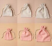 Linen Pouch Plain Drawstring Gift Wholesale Bulk Lot Favour Wedding Sweets Bag