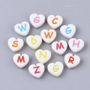 100x Acrylic Heart Flower Square Alphabet Letter Number Beads 14 choice 11mm USA