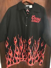 COORS LIGHT SHORT SLEEVE FLAMES FLAME SHOP GARAGE HAWAIIAN SHIRT SIZE XXL 2XL