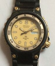 Vintage SEIKO QUARTZ SPORTS 150 Watch - Black & Gold 7N4346 Analog