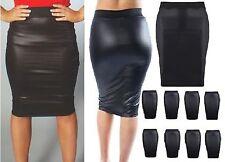 NEW WOMENS BLACK PVC WET LEATHER LOOK MINI PENCIL BODYCON SKIRT SIZE 6-26 wtsw