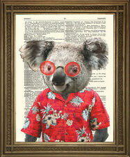 KOALA BEAR PRINT: Red Hawaiian Shirt Holiday Animal Art on Dictionary Page