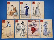 Set of 7 NEW Vintage Style Postcards, French Paris Fashion Dress Shabby Chic 76K