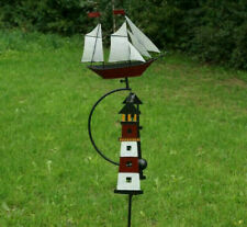 Gartenstecker Windspiel Wippe Leuchtturm Schiff rot Metall Deko Pendel maritim