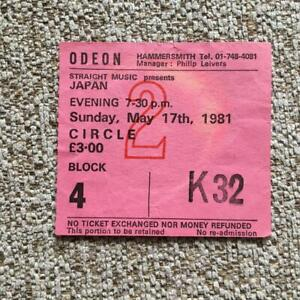 Japan David Sylvian ticket Hammersmith Odeon 17/05/81 #K32