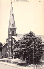 St. Bernards Church, Fitchburg, Massachusetts Vintage Postcard - circa 1950's!