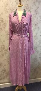 ESSENTIEL Antwerp Purple Check Shirt Dress With Embellished Collar UK 16