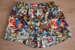 ☆—Marvel Spiderman—Satin—Silk—Boxer—Shorts—Shiny—Silky—Boxers—Cartoon—Vintage