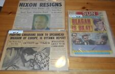 3X Newspaper 1974 - 1981 - 1943  WWII WW2 - Nixon resigns - Reagan Shot But OK