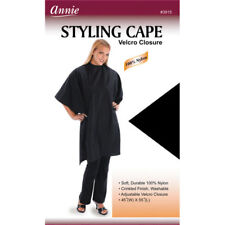 STYLING/CUTTING CAPE - ANNIE - 100% NYLON, VELCRO, BLACK, PROFESSIONAL, NEW