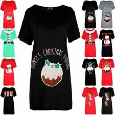 Womens Mummy's Pudding Round Neck Ladies Christmas Maternity Xmas T Shirt Dress