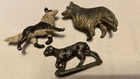 VINTAGE METAL PLASTIC TOY DOGS X 3 AS PICS RARE OLD METAL BRITAINS SMALL 3 TOYS