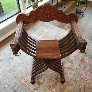 Vintage Italian Savonarola Folding Chair Lion Head Armrest Claw Foot