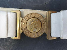 More details for victorian brass buckle victoria crown white buff leather belt large size 40ins