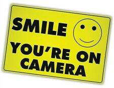 (5) Smile You're on Camera Yellow Business Security Sign CCTV Video Surveillance