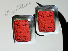 Sajen Sterling Silver Red Carved Cinnabar Earrings