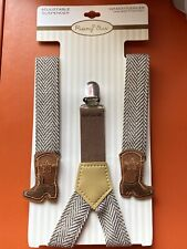 Rising Star Adjustable Suspenders Brown with Cowboy Boots Infant Toddler New