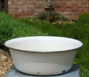 Vintage French enamel bath garden planter tub plant pot