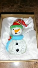 New Pier 1 Imports Small Glass Snowman Figurine Winter Decor Christmas Figure