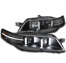 FOR 04-08 ACURA TL LED DRL TUBE PROJECTOR HEADLIGHTS LAMPS BLACK LH+RH PAIR SET