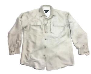 Royal Robbins Off White Men Long Sleeve Button Front Camp Polyester Shirt Medium