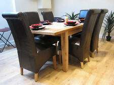 Extending Solid Oak Dining Table And Six Brown Bonded Leather Chairs 120/165CM