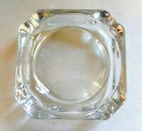 "Vintage Retro Clear Glass 3.75"" Square Ashtray"